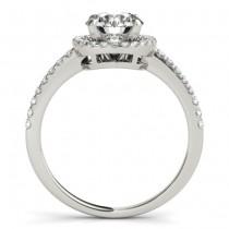 Round Diamond Halo Engagement Ring 14K White Gold (0.83ct)