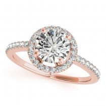 Round Diamond Halo Engagement Ring 18K Rose Gold (0.83ct)