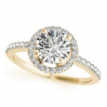 Round Diamond Halo Engagement Ring 18K Yellow Gold (0.83ct)