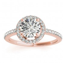 Diamond Halo Engagement Ring 14K Rose Gold 0.33ct