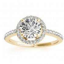 Diamond Accented Halo Engagement Ring Setting 14K Yellow Gold (0.33ct)