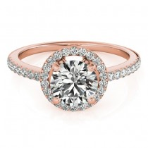 Diamond Accented Halo Engagement Ring Setting 18K Rose Gold (0.33ct)