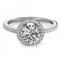 Diamond Accented Halo Engagement Ring Setting 18K White Gold (0.33ct)