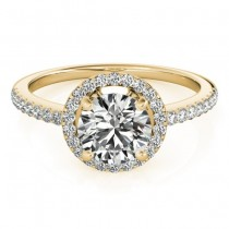 Diamond Accented Halo Engagement Ring Setting 18K Yellow Gold (0.33ct)
