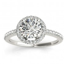 Diamond Accented Halo Engagement Ring Setting Platinum (0.33ct)