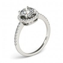 Diamond Accented Halo Engagement Ring Setting Platinum (0.33ct)