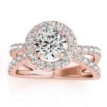 Diamond Split Shank Halo Engagement Ring Setting 14k Rose Gold (0.66ct)
