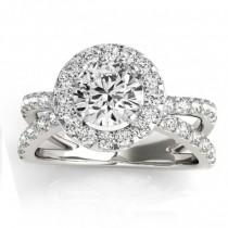 Diamond Split Shank Halo Engagement Ring Setting 14k White Gold (0.66ct)