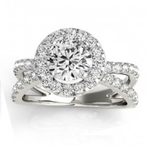 Diamond Split Shank Halo Engagement Ring Setting 18k White Gold (0.66ct)