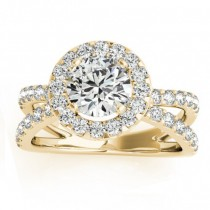 Diamond Split Shank Halo Engagement Ring Setting 18k Yellow Gold (0.66ct)