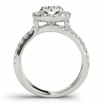 Diamond Split Shank Halo Engagement Ring Setting Platinum (0.66ct)