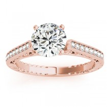 Diamond Antique Style Engagement Ring Setting 14k Rose Gold (0.10ct)