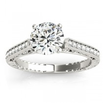 Diamond Antique Style Engagement Ring Setting 14k White Gold (0.10ct)
