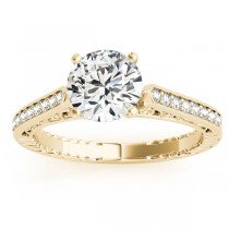 Diamond Antique Style Engagement Ring Setting 14k Yellow Gold (0.10ct)
