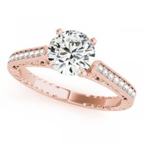 Diamond Antique Style Engagement Ring Setting 18k Rose Gold (0.10ct)