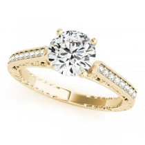Diamond Antique Style Engagement Ring Setting 18k Yellow Gold (0.10ct)