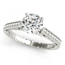 Diamond Antique Style Engagement Ring Setting Platinum (0.10ct)