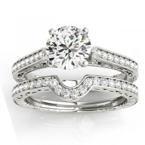 Diamond Antique Style Bridal Set 14k White Gold (0.24ct)
