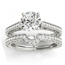 Diamond Antique Style Bridal Set 18k White Gold (0.24ct)