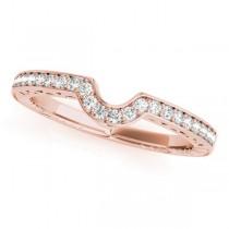 Diamond Antique Style Contoured Wedding Band 18k Rose Gold (0.14ct)