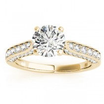 Diamond Sidestone Accented Engagement Ring 14k Yellow Gold (0.50ct)