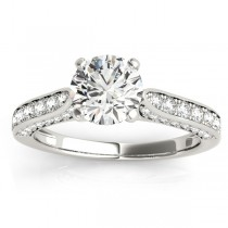 Diamond Sidestone Accented Engagement Ring 18k White Gold (0.50ct)