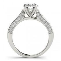 Diamond Sidestone Accented Engagement Ring Palladium (0.50ct)