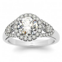 Marquise Sidestone Diamond Halo Engagement Ring 14k White Gold (1.59ct)