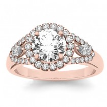 Marquise Diamond Halo Engagement Ring Setting 14k Rose Gold (0.59ct)