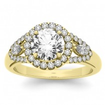 Marquise Diamond Halo Engagement Ring Setting 14k Yellow Gold (0.59ct)