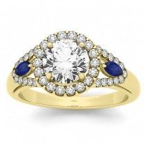 Diamond & Marquise Blue Sapphire Engagement Ring 14k Yellow Gold (0.59ct)