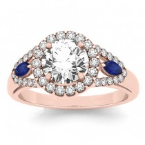 Diamond & Marquise Blue Sapphire Engagement Ring 18k Rose Gold (0.59ct)