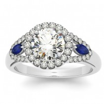 Diamond & Marquise Blue Sapphire Engagement Ring 18k White Gold (0.59ct)