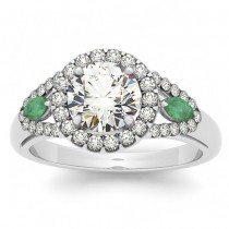 Diamond & Marquise Emerald Engagement Ring 14k White Gold (0.59ct)