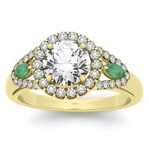 Diamond & Marquise Emerald Engagement Ring 18k Yellow Gold (0.59ct)