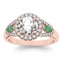 Diamond & Marquise Emerald Engagement Ring 14k Rose Gold (1.59ct)