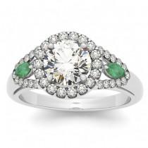 Diamond & Marquise Emerald Engagement Ring 14k White Gold (1.59ct)
