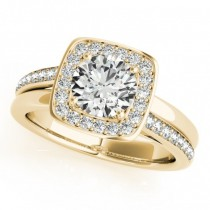 Diamond Halo Square Border Engagement Ring 14k Yellow Gold (1.26ct)