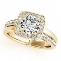Diamond Halo Square Border Engagement Ring 14k Yellow Gold (1.26ct)