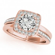 Diamond Halo Square Border Engagement Ring 18k Rose Gold (1.26ct)