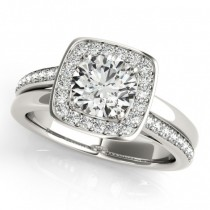 Diamond Halo Square Border Engagement Ring 18k White Gold (1.26ct)