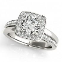 Diamond Halo Square Border Engagement Ring Platinum (1.26ct)