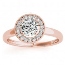 Diamond Accented Halo Engagement Ring Setting 18k Rose Gold (0.10ct)