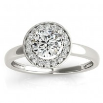 Diamond Accented Halo Engagement Ring Setting 18k White Gold (0.10ct)