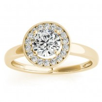 Diamond Accented Halo Engagement Ring Setting 18k Yellow Gold (0.10ct)