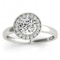 Diamond Accented Halo Engagement Ring Setting Palladium (0.10ct)