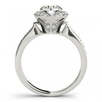 Diamond Star Engagement Ring with Accents in 14k White Gold 1.40ct