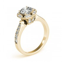 Diamond Star Engagement Ring with Accents in 14k Yellow Gold 1.40ct