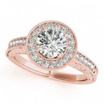 Diamond Halo Antique Style Design Engagement Ring 18k Rose Gold (1.08ct)