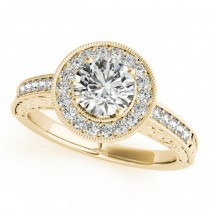 Diamond Halo Antique Style Design Engagement Ring 18k Yellow Gold (1.08ct)